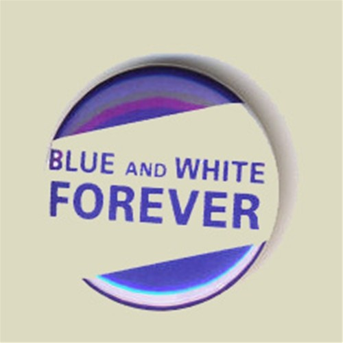 Blue and White Forever Tag Pin Metal (sika-10)