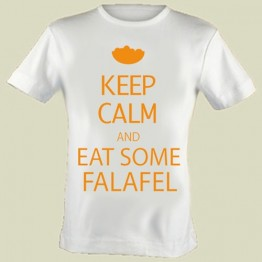 """Keep Calm and Eat Some Falafel"" T-shirt (T-LE104)"